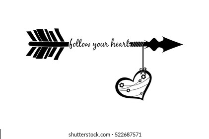 Follow your heart with arrow silhouette and decorated heart isolated over white background. Tattoo style. Arrow, heart, quotation clipart