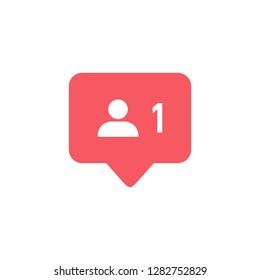 Followers notification. Social media icon user.