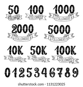 Followers quantity number icons for social nets subscribers. Vector isolated numbers lettering in retro design set of 10, 100 hundreds and thousands followers for social net victory ribbons