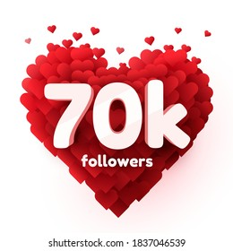 Followers thank you. Red heart for Social Network friends, followers, Web user Thank you celebrate of subscribers or followers and likes. Vector illustration