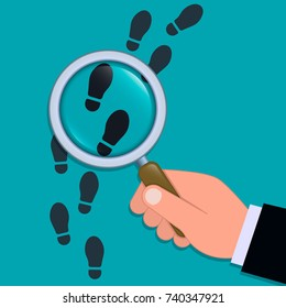 Following footsteps vector color illustration. Hand holding magnifying glass above footprint flat illustration. Detective inspecting.