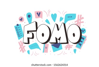 FOMO abbreviation text emblem isolated on white background. Modern social anxiety acronym. Fear of missing out concept. Vector illustration