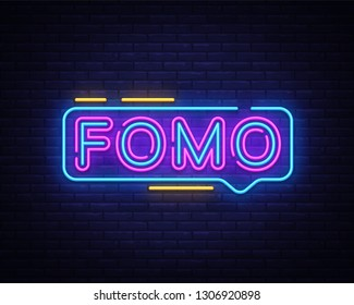 Fomo Neon Text Vector. Fomo neon sign, design template, modern trend design, night neon signboard, night bright advertising, light banner, light art. Vector illustration