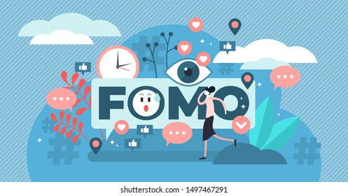 FOMO vector illustration. Flat tiny fear of missing out person concept. Social anxiety cause and symptom to be with pervasive apprehension or afraid from absent regrets. Social media disease feeling.