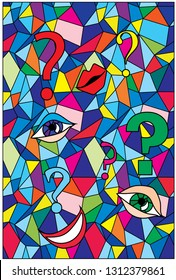 fon with multicolor triangles, quadrangle, lips and eyes ang question mark
