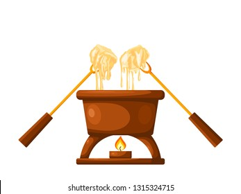 Fondue. Brown jar with melted cheese and forks strung with sliced bread. Cheese fondue on a white background. Vector illustration