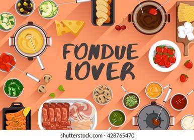 Fondue : Food Illustration In Top View : Vector Illustration