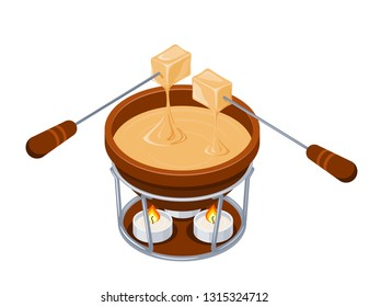 Fondue. Isometric style Brown jar with melted cheese and forks with stringed pieces of bread. Cheese fondue on a white background. Vector illustration