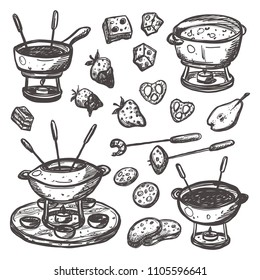 Fondue set. Traditional swiss dish. Hand drawn vector illustration. Can be used for farmers market, food festival, menu, cafe, restaurant, bar, poster, banner, emblem, sticker, logo, label.