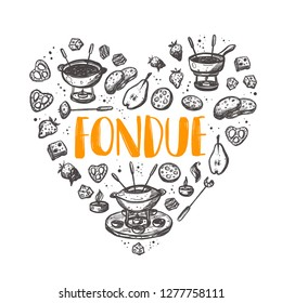 Fondue. Shape of a heart. Traditional swiss dish. Hand drawn vector illustration. Can be used for farmers market, food festival, menu, cafe, restaurant, bar, poster, banner, emblem, sticker, logo.