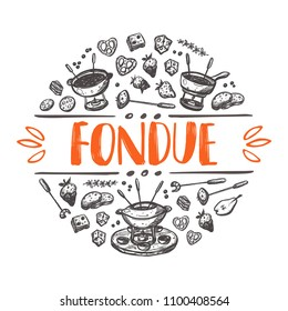 Fondue. Traditional swiss dish. Hand drawn vector illustration. Can be used for farmers market, food festival, menu, cafe, restaurant, bar, poster, banner, emblem, sticker, logo, label, placard.