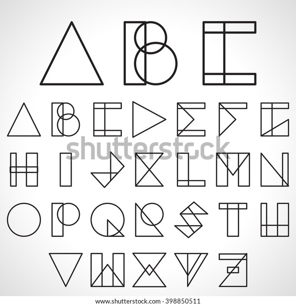 Font Abc Alphabet Geometric Style Logo Stock Vector (Royalty