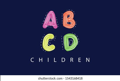 Font ABCD children's style. Colorful and hand drawn