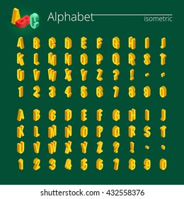 Font alphabet with drop shadow on background.  Flat illustration.  Isometric abc. 3d Letters, numbers and symbols. Three-Dimensional stock vector typography for headlines, posters etc