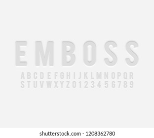 Font alphabet emboss effect in vector format