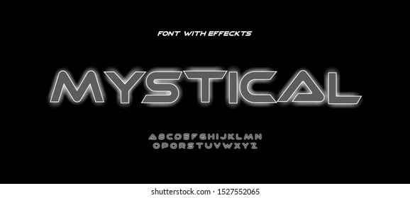 The font and the alphabet with the outer glow. Futuristic font for many purposes.
