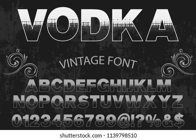Font alphabet Script Typeface handcrafted  named vintage vodka