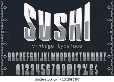 Font alphabet Script Typeface handcrafted handwritten vector label design named sushi