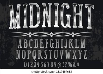 Font alphabet Script Typeface handcrafted handwritten vector label design named midnight