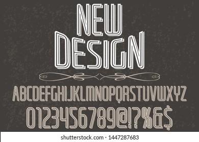 Font alphabet Script Typeface handcrafted handwritten vector label design old style.Shadow Effect.vintage Hand Drawn.Retro Typography.Vector Illustration.