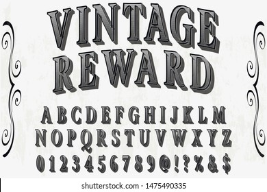 Font alphabet Script Typeface handcrafted handwritten vector label design old style.Shadow Effect.vintage Hand Drawn.Retro Typography.Vector Illustration.