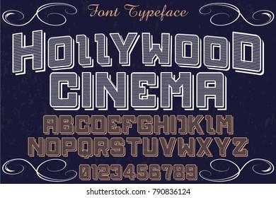 Font alphabet Script Typeface handcrafted handwritten vector label design named hollywood cinema