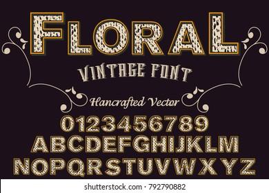 Font alphabet Script Typeface handcrafted handwritten vector label design named floral