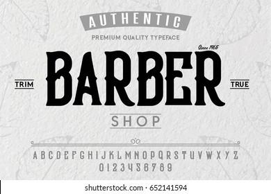 Font. Alphabet. Script. Typeface. Label.Vintage typeface. For labels and different type designs