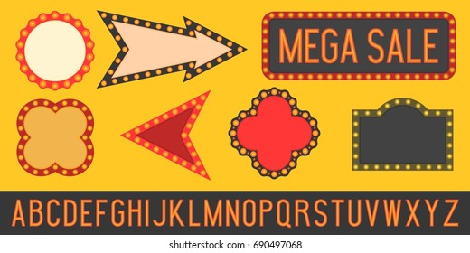 font alphabet, set of frame and board in retro style with light bulb, disco and night club theme, flat design vector, no mesh or gradient