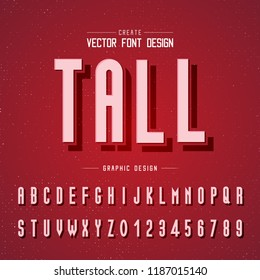 Font and alphabet vector, tall letter design and graphic text on red background