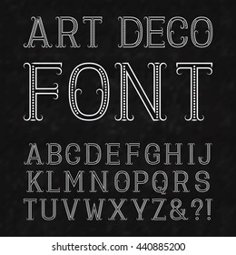 Font in art deco style. Vintage latin alphabet. White capital letters of dots and lines with flourishes on a black textured background.