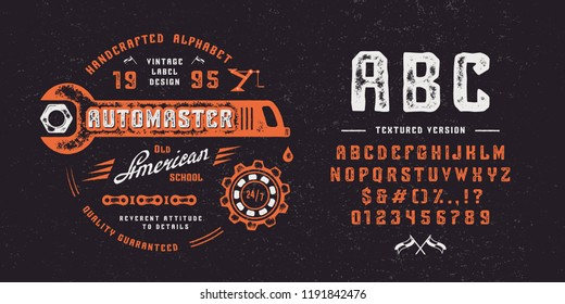 Font AUTOMASTER. Hand crafted retro vintage typeface design. Handmade textured lettering. Handmade  type on black background.  Authentic graphic alphabet. Vector illustration old label logo template.