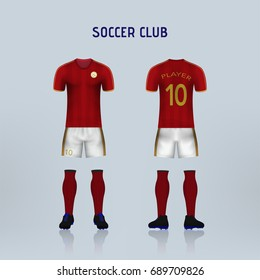 font and back of soccer jersey shirt in red stripe pattern with white pants  and red 3fa012266