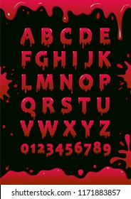 Font of blood. Blot alphabet. Letters and numbers with red slime. Vector poster