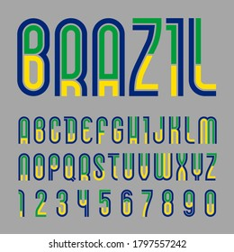 Font Brazil. Trendy bright alphabet, colorful letters on a gray background.