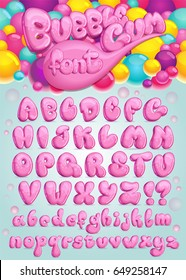 Font Bubble gum. Vector set of pink cartoon letters. Illustration of sweet bubble symbols alphabet