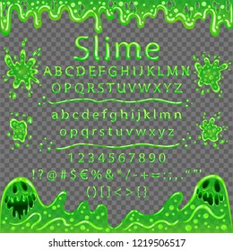Font from bubbling mucus. Sticky smiling monsters from slime. Frame transparent, the font isn't. Background transparent in EPS. Frame transparent in a vector program. Vector Illustration. EPS 10.