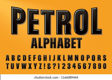 A font called Petrol in raised black letters on a yellow background. This alphabet is in the style of collectible gas station memorabilia. The letters have a soft cast shadow.