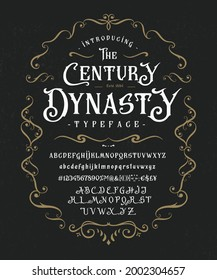 Font The Century Dynasty. Craft retro vintage typeface design. Graphic display alphabet. Fantasy type letters. Latin characters, numbers. Vector illustration. Old badge, label, logo template.