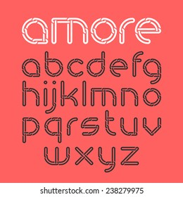 Font from chain, alphabet. Vector.