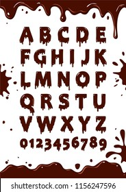 Font of chocolate glaze. Sweet alphabet. Letters and numbers vector poster
