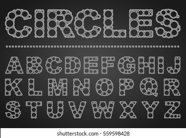 Font circles includes English capital letters in elegant typography with white and black lines