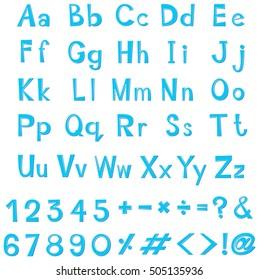 Font design for english alphabets in blue illustration
