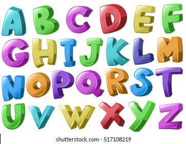 Font design with english alphabets illustration