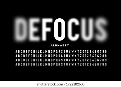 Font design with focused and defocused letters, alphabet and numbers vector illustration