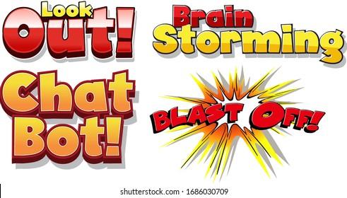 Font design for four different phrases on white background illustration