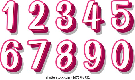 Font design for number one to zero on white background illustration