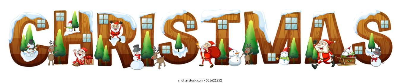 Font design for word christmas with Santa illustration