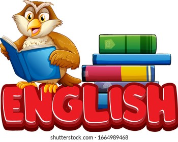 Font design for word english with owl reading book illustration