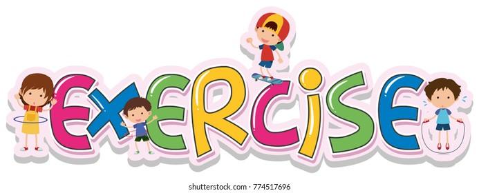 Font design for word exercise illustration